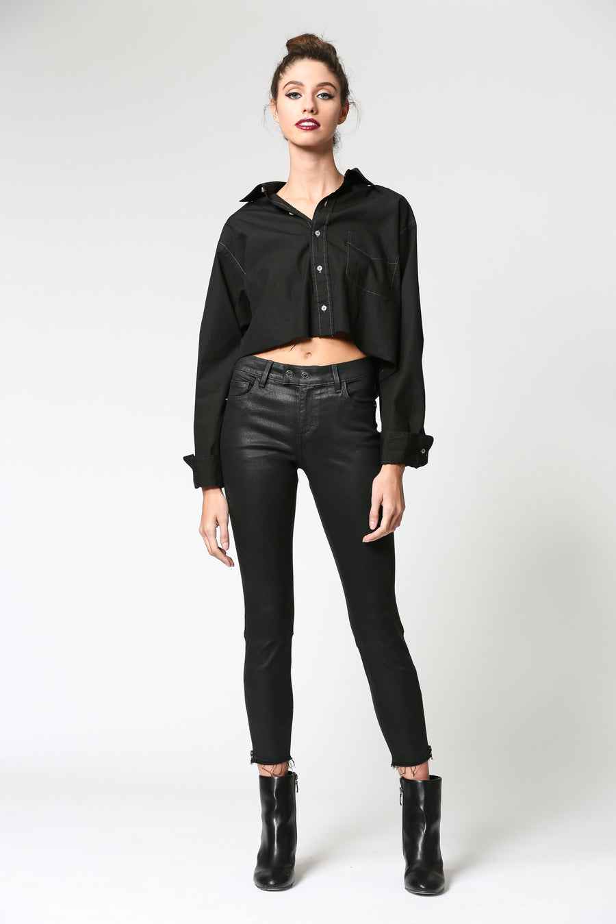 AMELIA <p/> BLACK COATED MOTO ZIPPER SKINNY