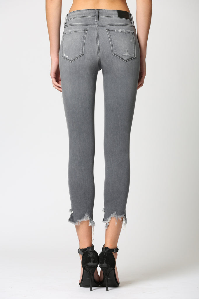 AMELIA <p/> GREY DESTRUCTED SKINNY