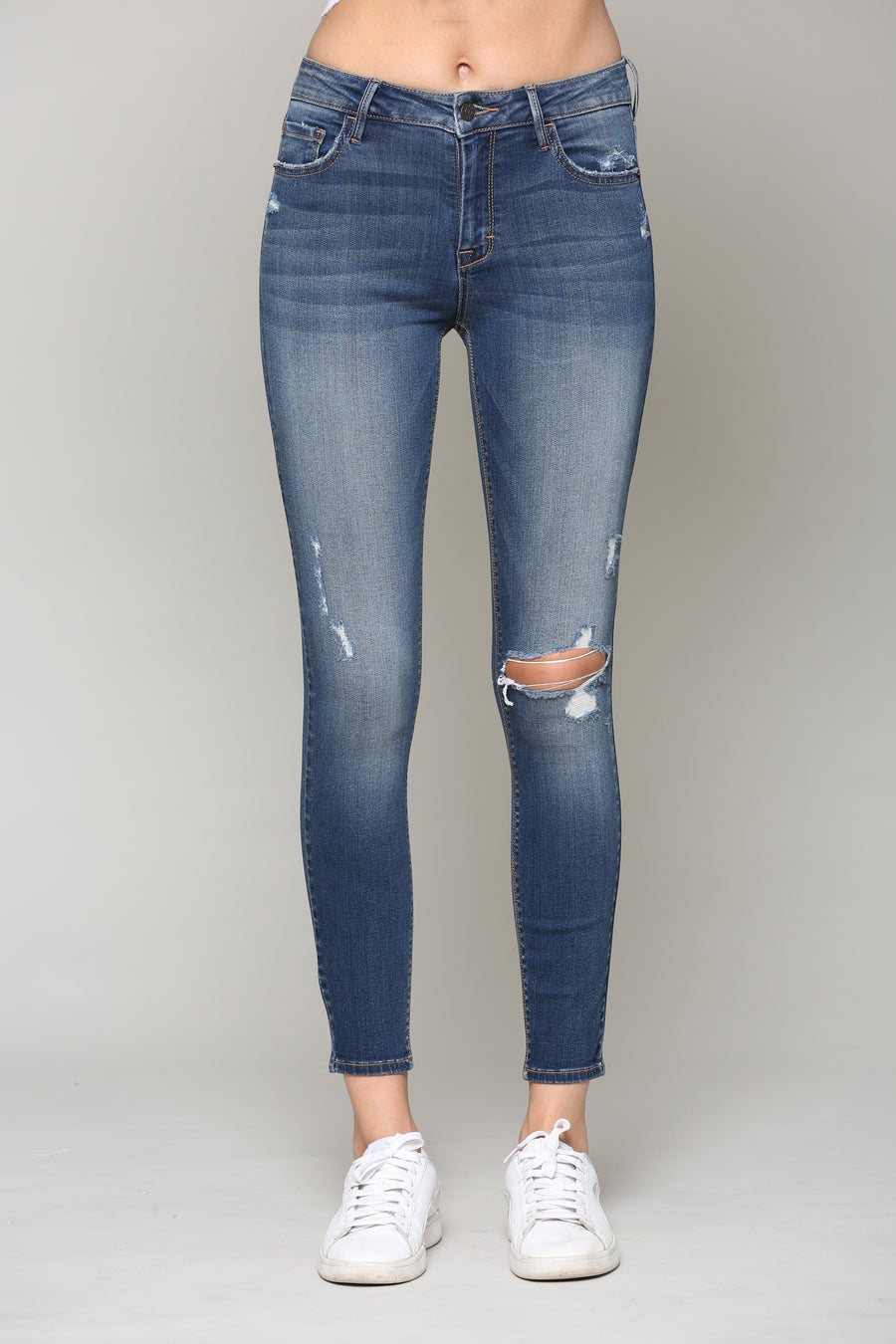 AMELIA <p/> DARK WASH SKINNY WITH GRINDING