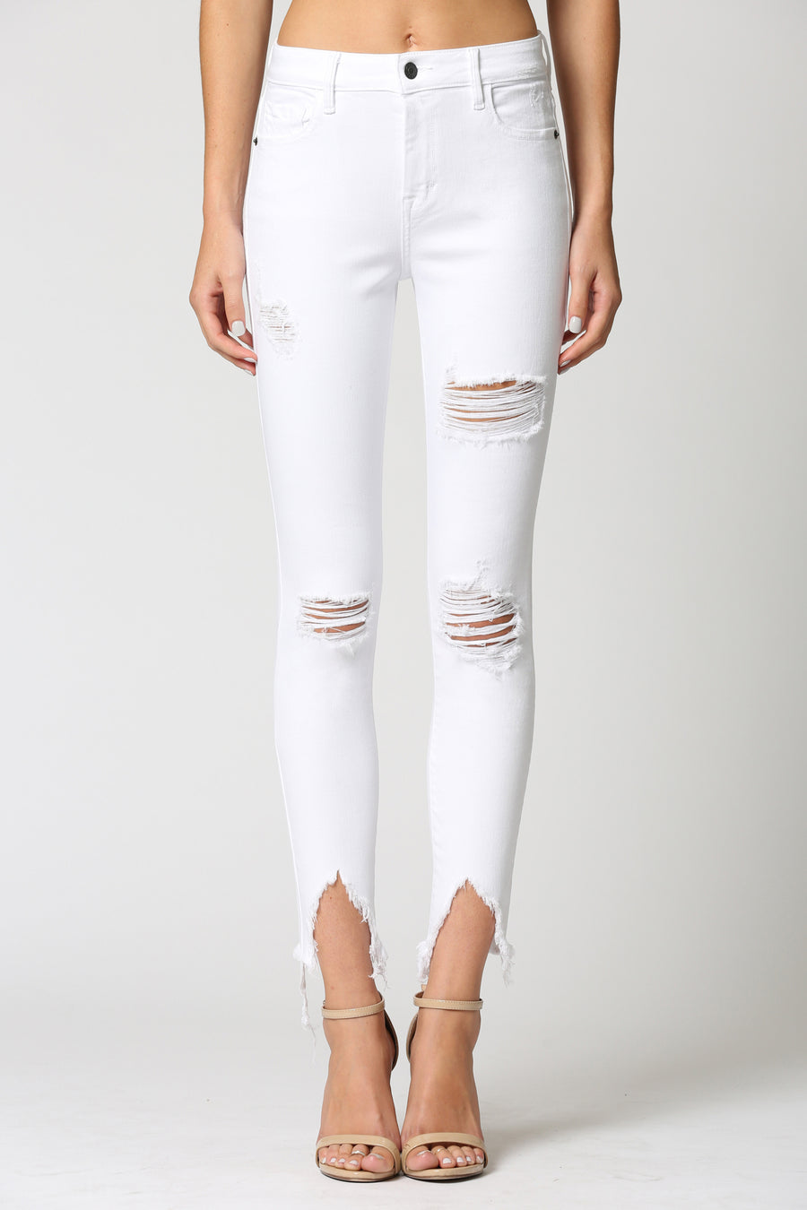 AMELIA <p/> WHITE DISTRESSED FRAYED SKINNY