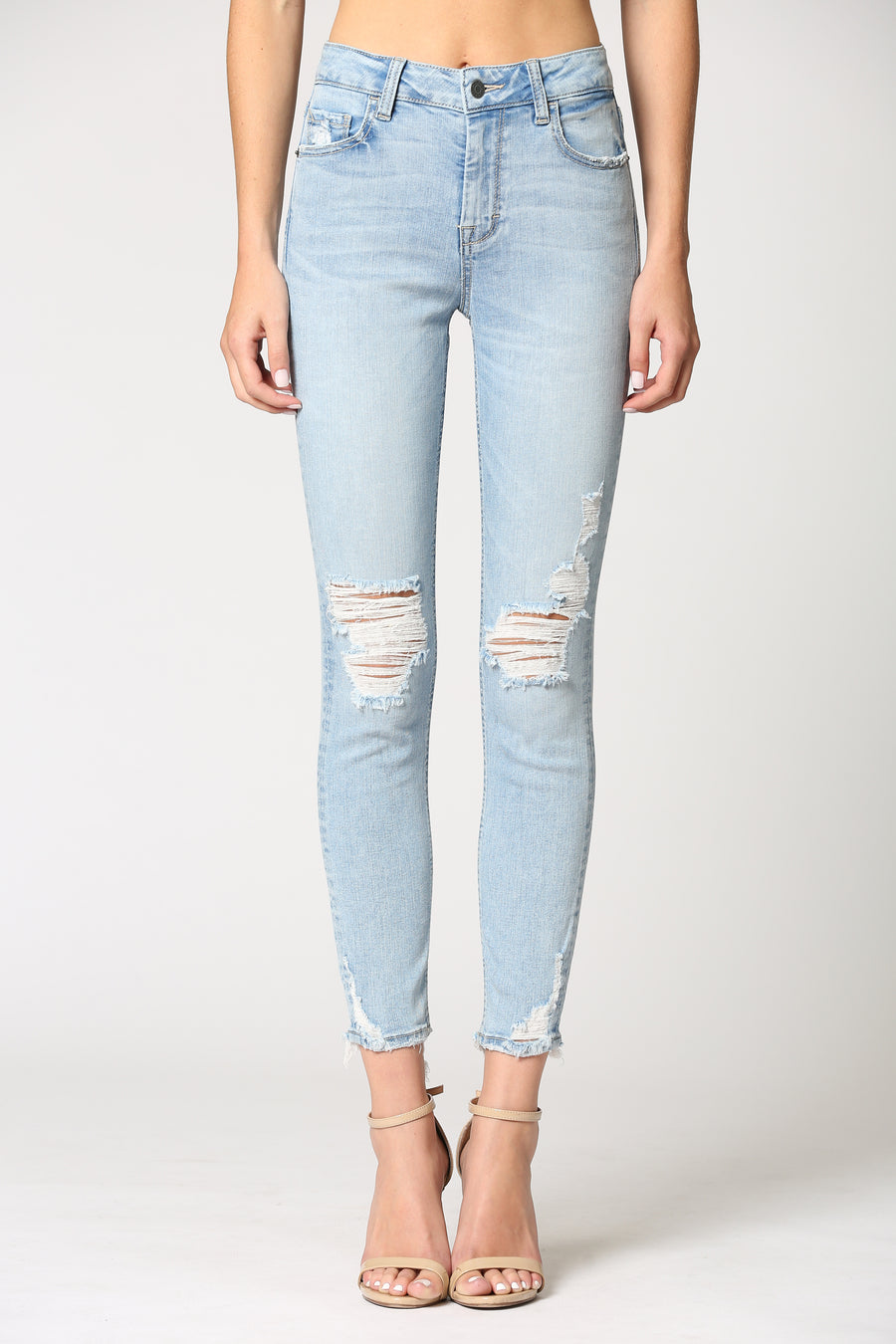 AMELIA <p/> LIGHT WASH KNEE DISTRESSED CLEAN HEM SKINNY