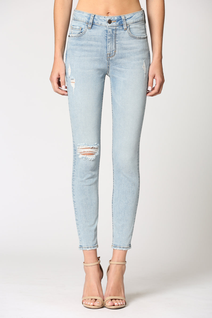 AMELIA <p/> SUPER LIGHT WASH GRINDED CLEAN HEM SKINNY