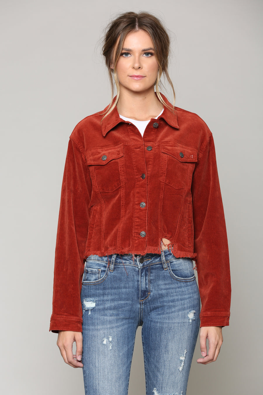 REBEL <p/> BURNT ORANGE CORDUROY CROPPED JACKET