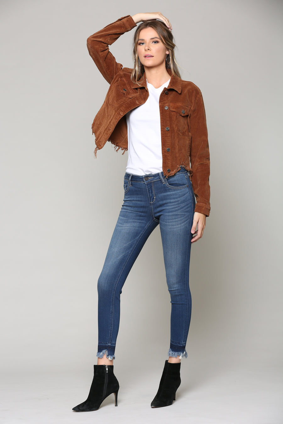 REBEL <p/> GOLD CORDUROY CROPPED JACKET