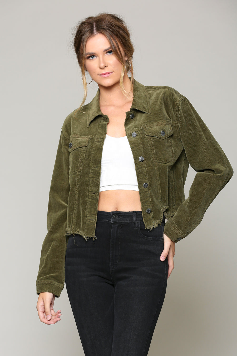 REBEL <p/> OLIVE CORDUROY CROPPED JACKET
