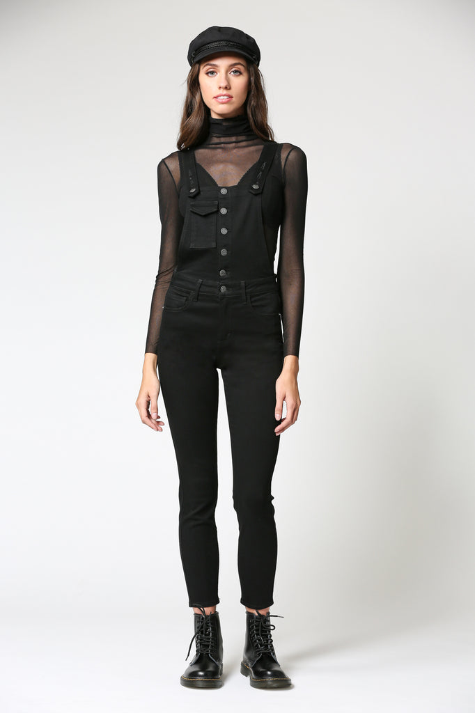DYLAN <p/> BLACK HIGH WAIST STRETCH SKINNY OVERALL