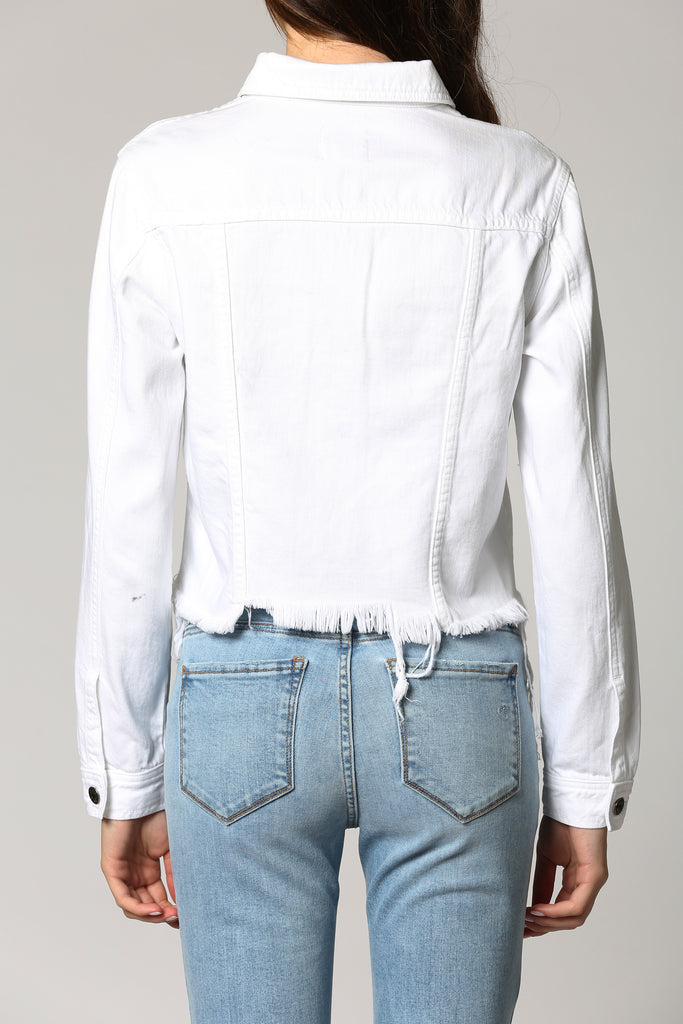 REBEL <p/> WHITE CROPPED FITTED JACKET
