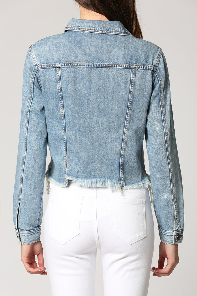 REBEL <p/> MEDIUM WASH CLASSIC CROPPED JACKET