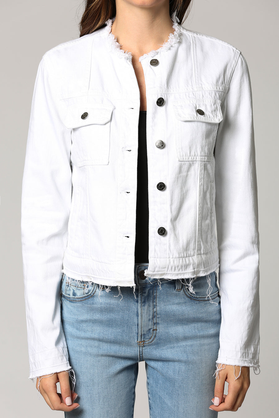 REBEL <p/> WHITE COLLARLESS JACKET