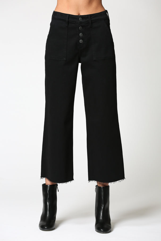 NORI <p/> BLACK UTILITY CROPPED WIDE LEG