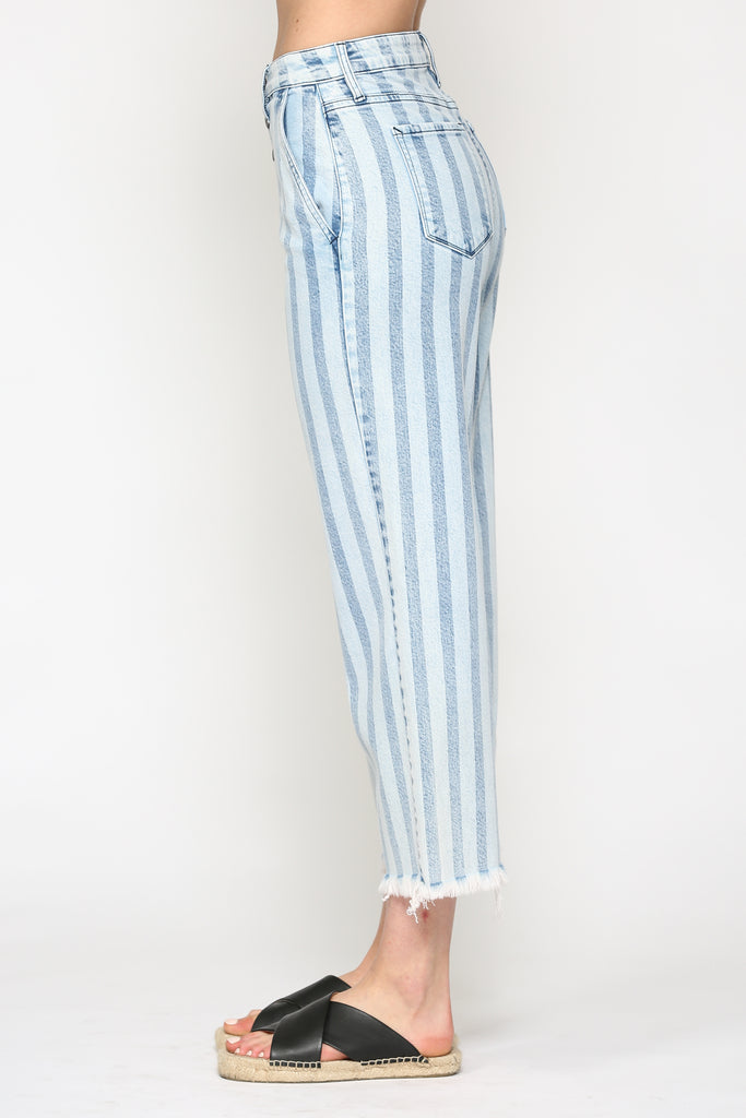 NORI <p/> LIGHT WASH STRIPED WIDE LEG PANT