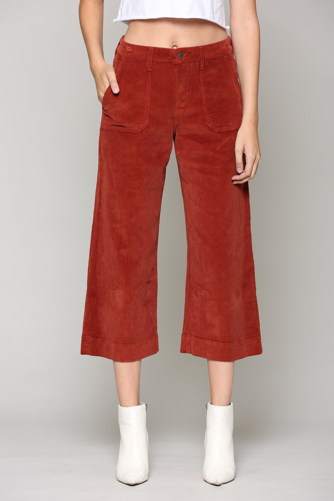 NORI <p/> BURNT ORANGE CORDUROY UTILITY CROPPED WIDE LEG