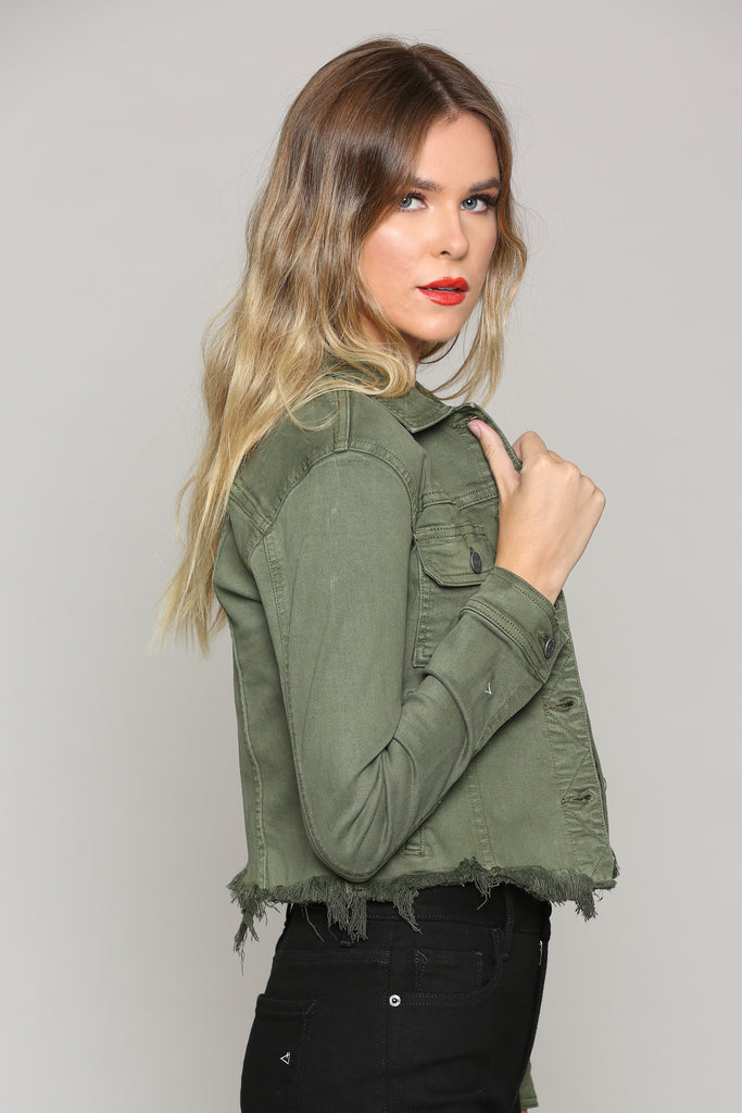 REBEL <p/> MILITARY OLIVE CROPPED JACKET