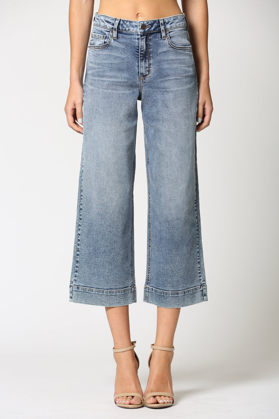NORI <p/> MEDIUM WASH STRETCH WIDE LEG