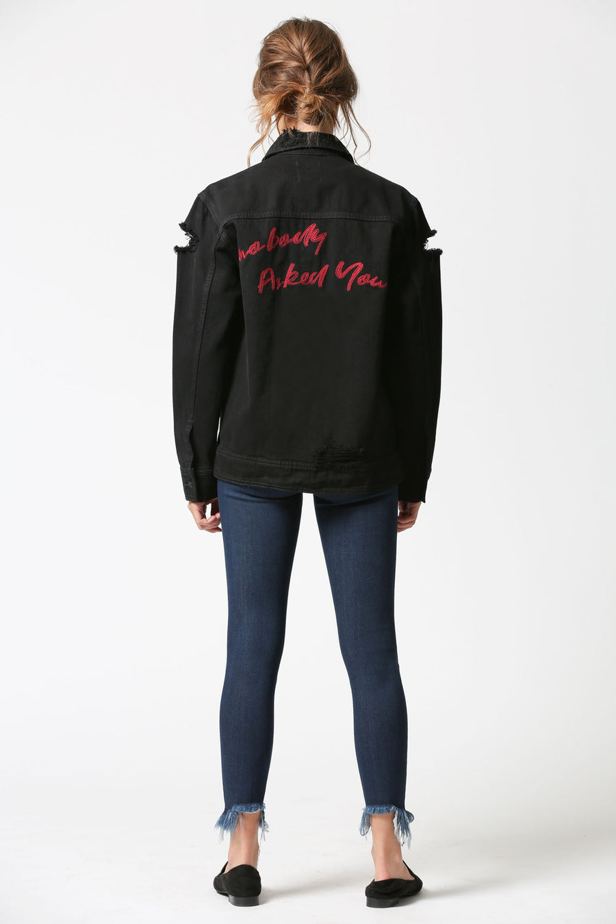REBEL <p/> Black Oversized Distressed Jacket with Embroidery