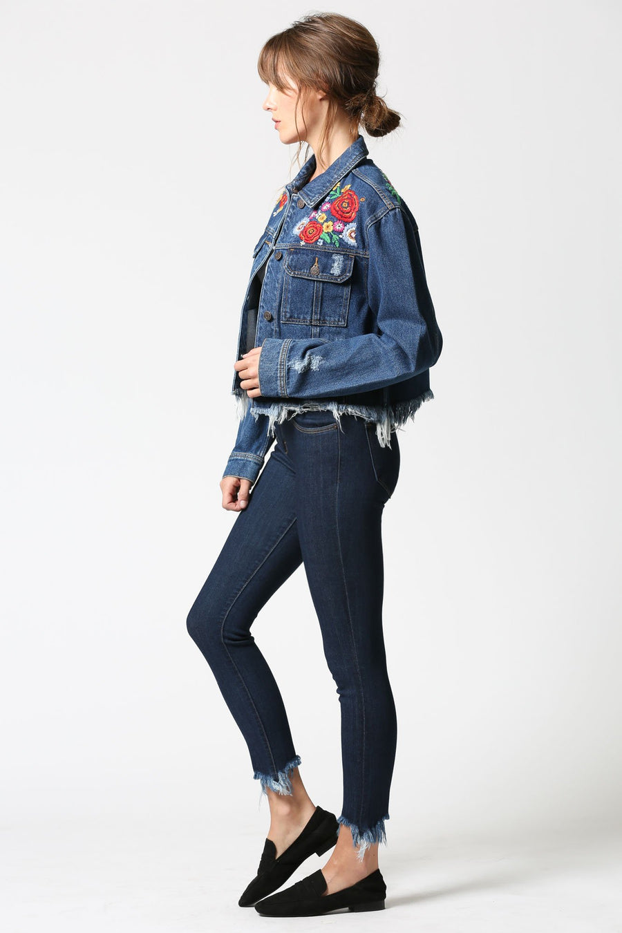 REBEL <p/> Dark Wash Frayed Jacket with Embroidery