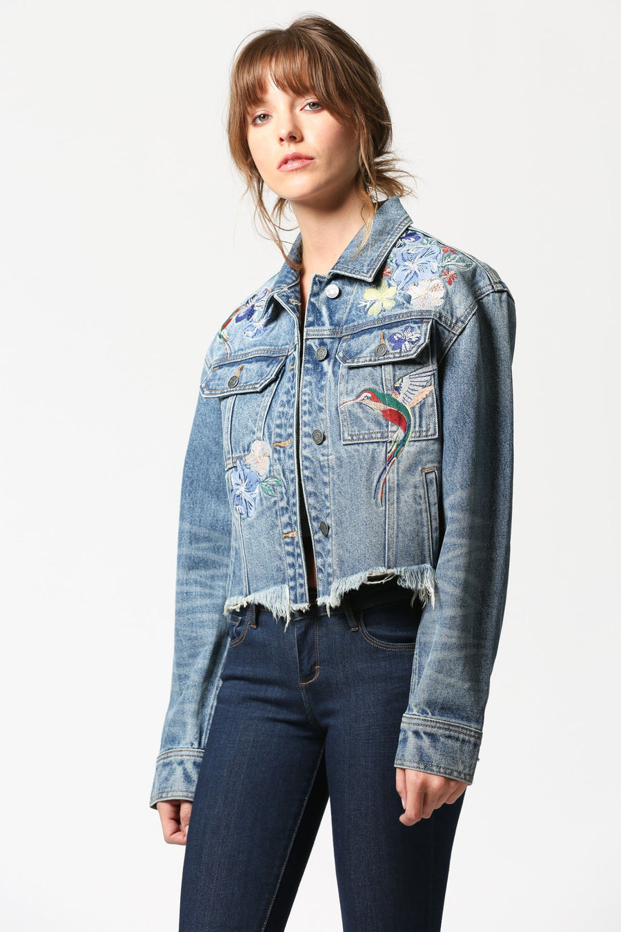 REBEL <p/> Medium Wash Frayed Hem Jacket with Embroidery