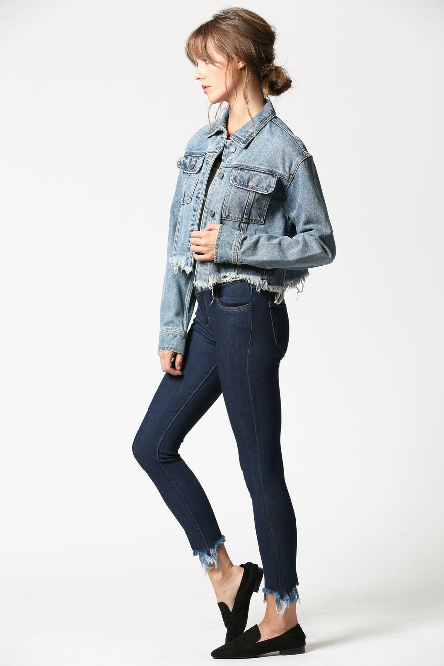 REBEL <p/> Medium Wash Frayed Jacket