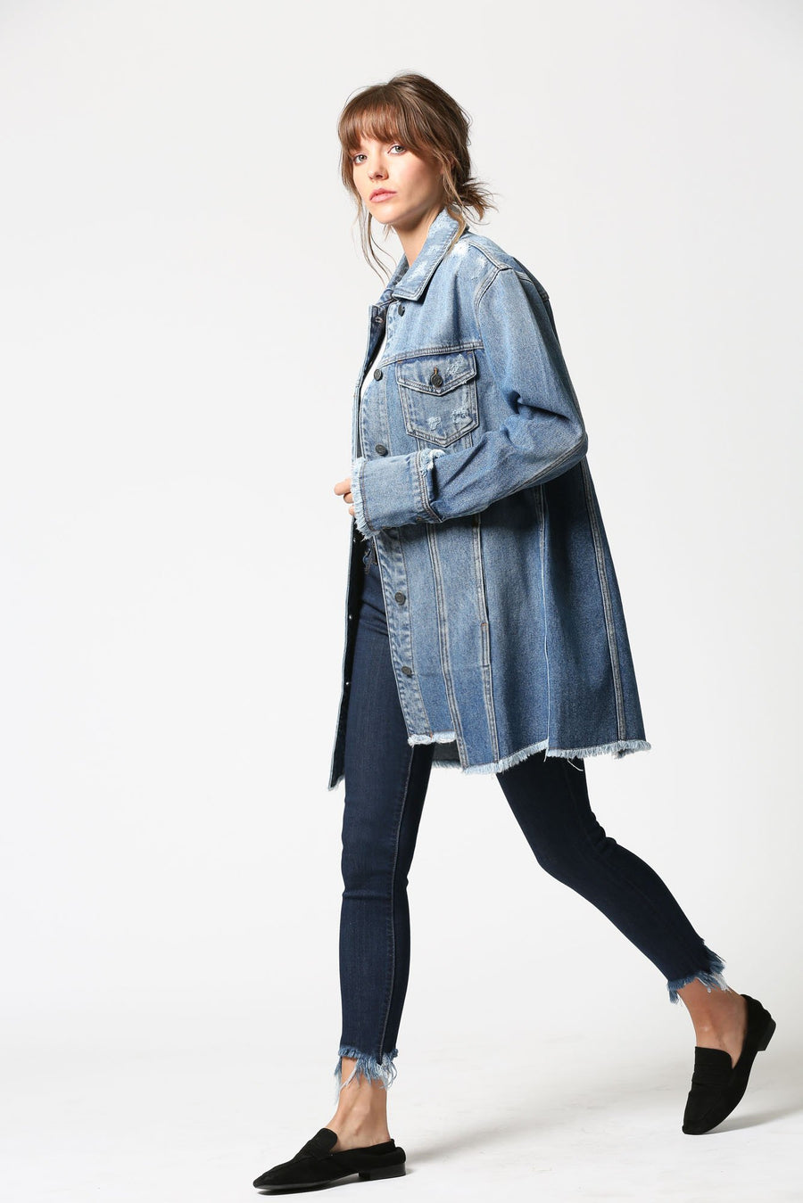 REBEL <p/> Medium Wash Oversized Denim Jacket