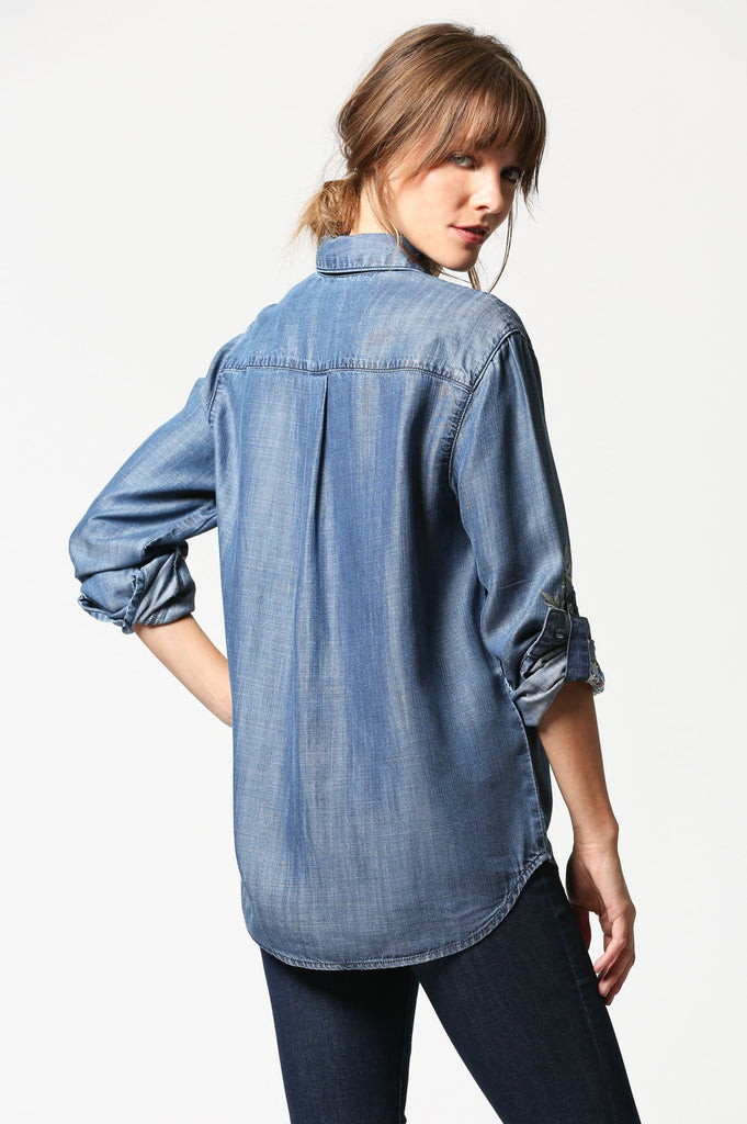 ABBEY <p/> Medium Wash Embroidered Shirt