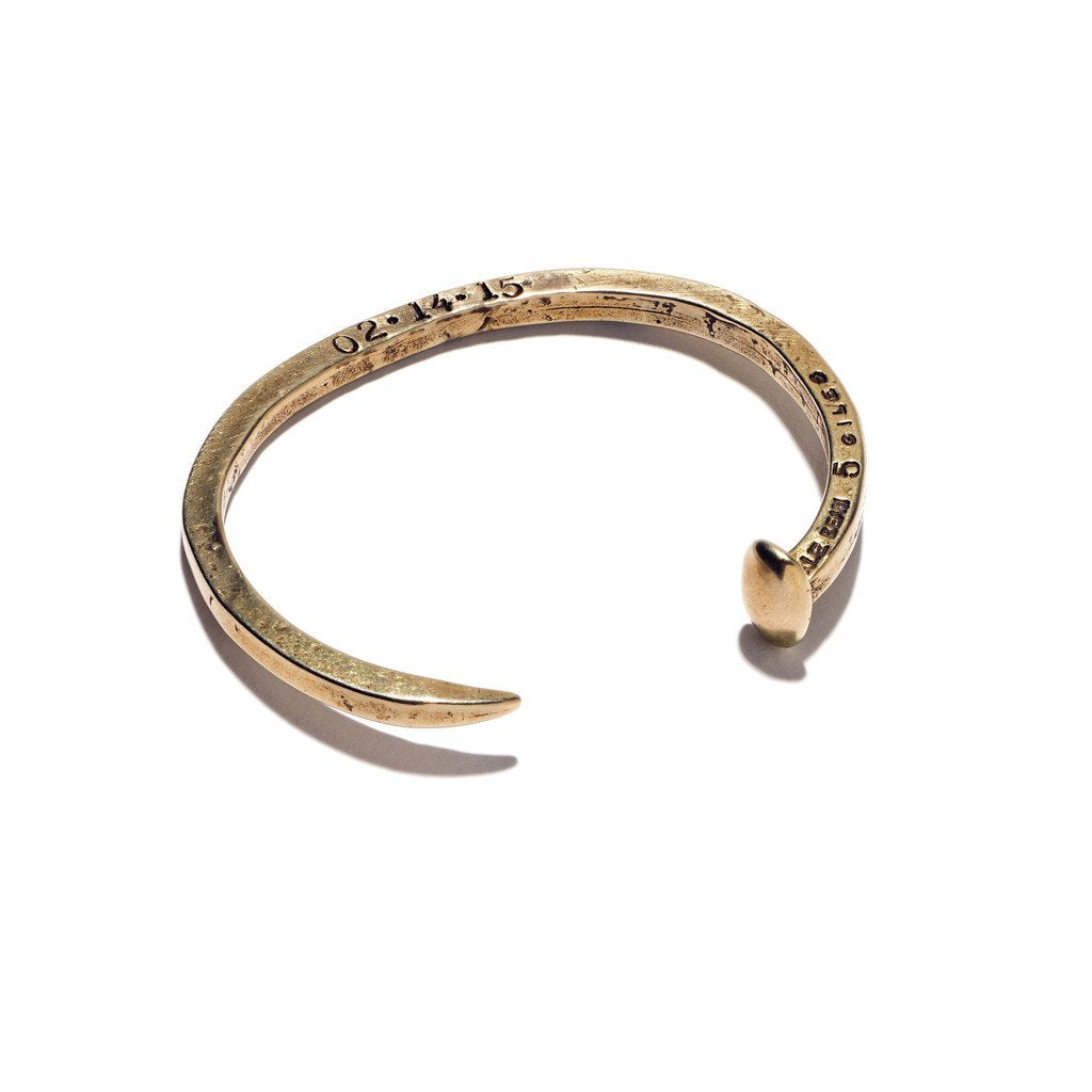 GILES & BROTHER SKINNY RAILROAD SPIKE BRASS CUFF