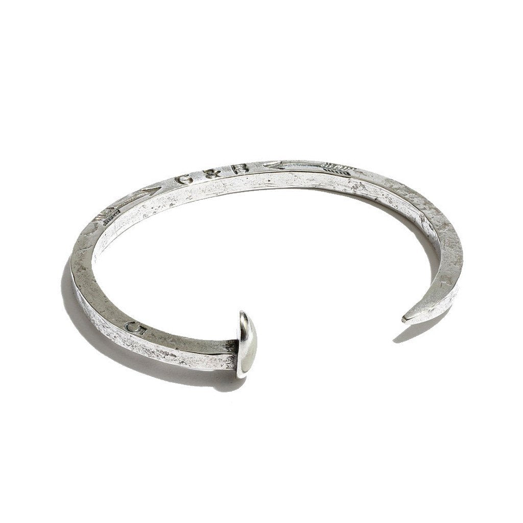 GILES & BROTHER SKINNY RAILROAD SPIKE SILVER OXIDE CUFF