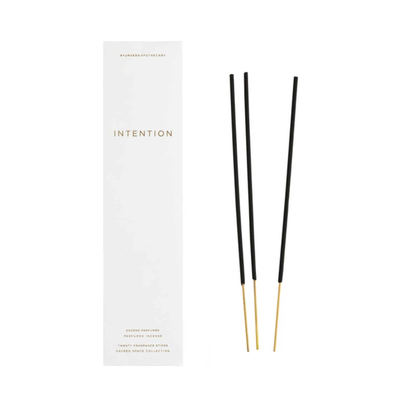 Intention incense. Product insert reads: Intention. Perfumed Incense; Twenty Fragrance sticks; Sacred Space Collection.