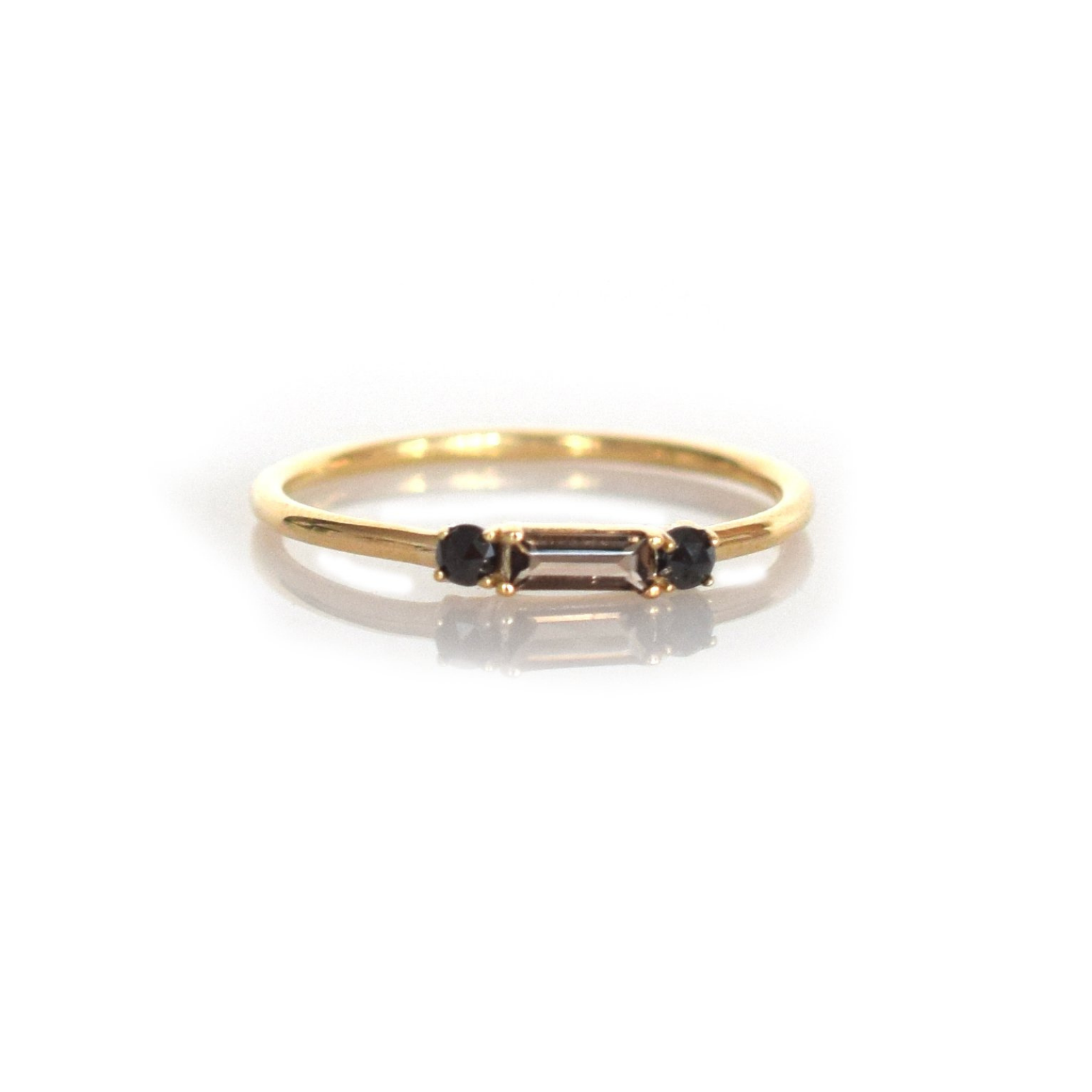 La Kaiser 14kt Gold Smoky Quartz & Black Diamond Baguette Crush Ring
