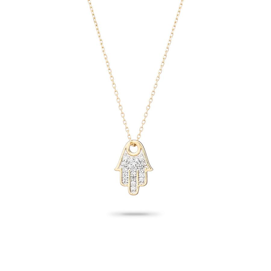 ADINA REYTER SOLID PAVE HAMSA NECKLACE
