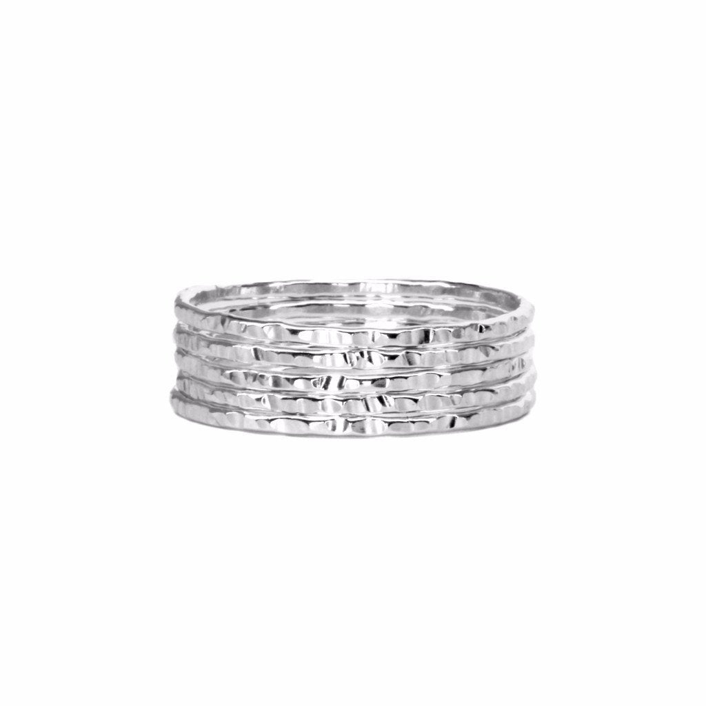 STERLING SILVER THIN HAMMERED STACKING RING