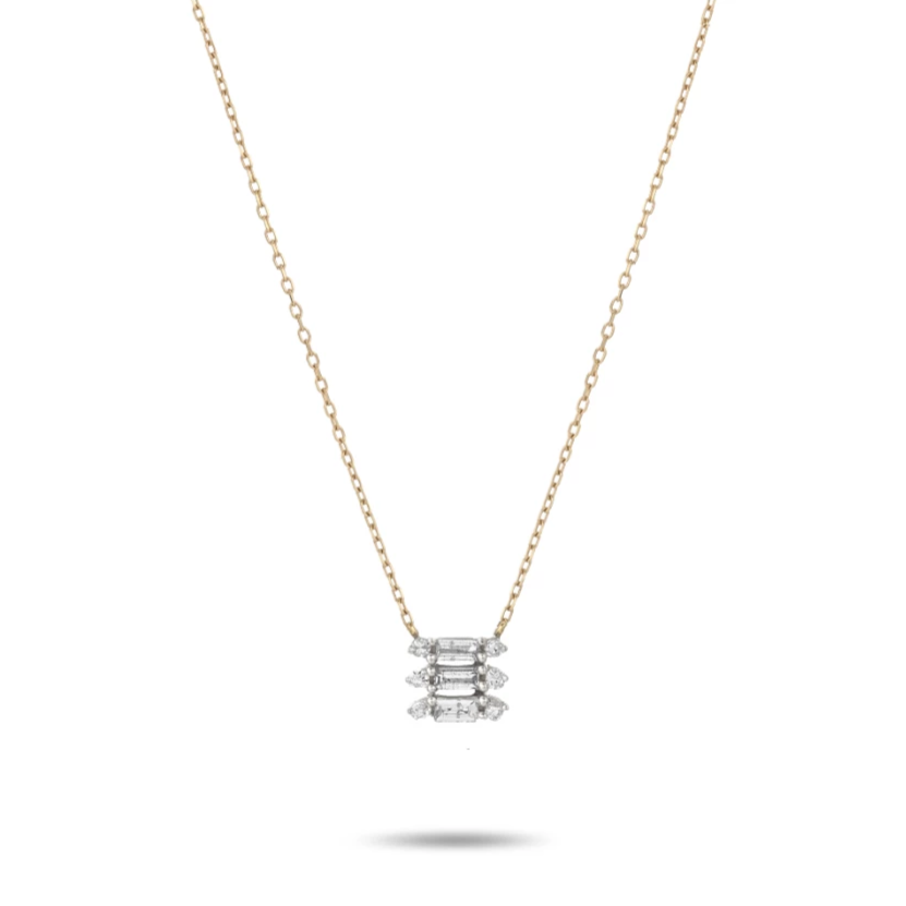 ADINA REYTER TRIPLE STACK BAGUETTE NECKLACE