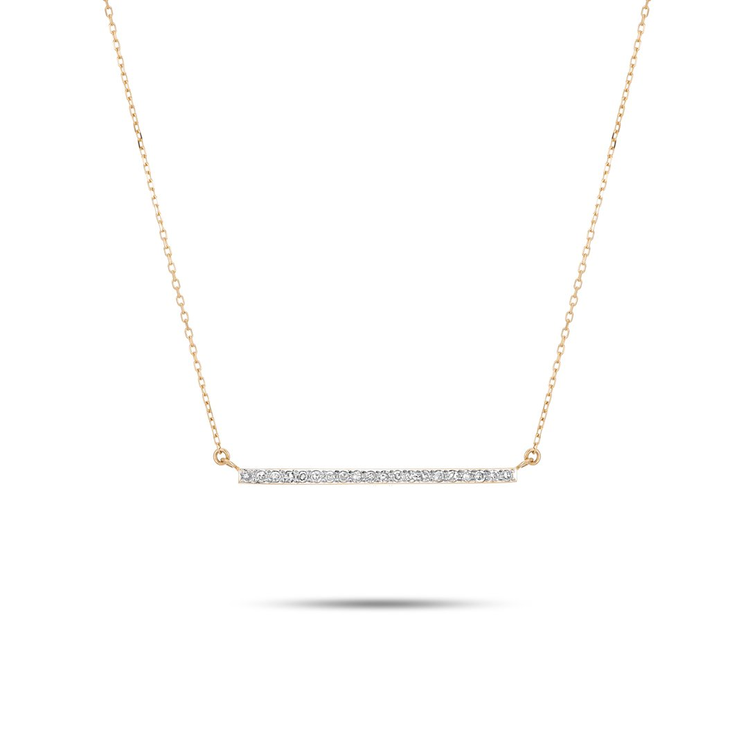 ADINA REYTER LARGE PAVE BAR NECKLACE - WHITE DIAMOND