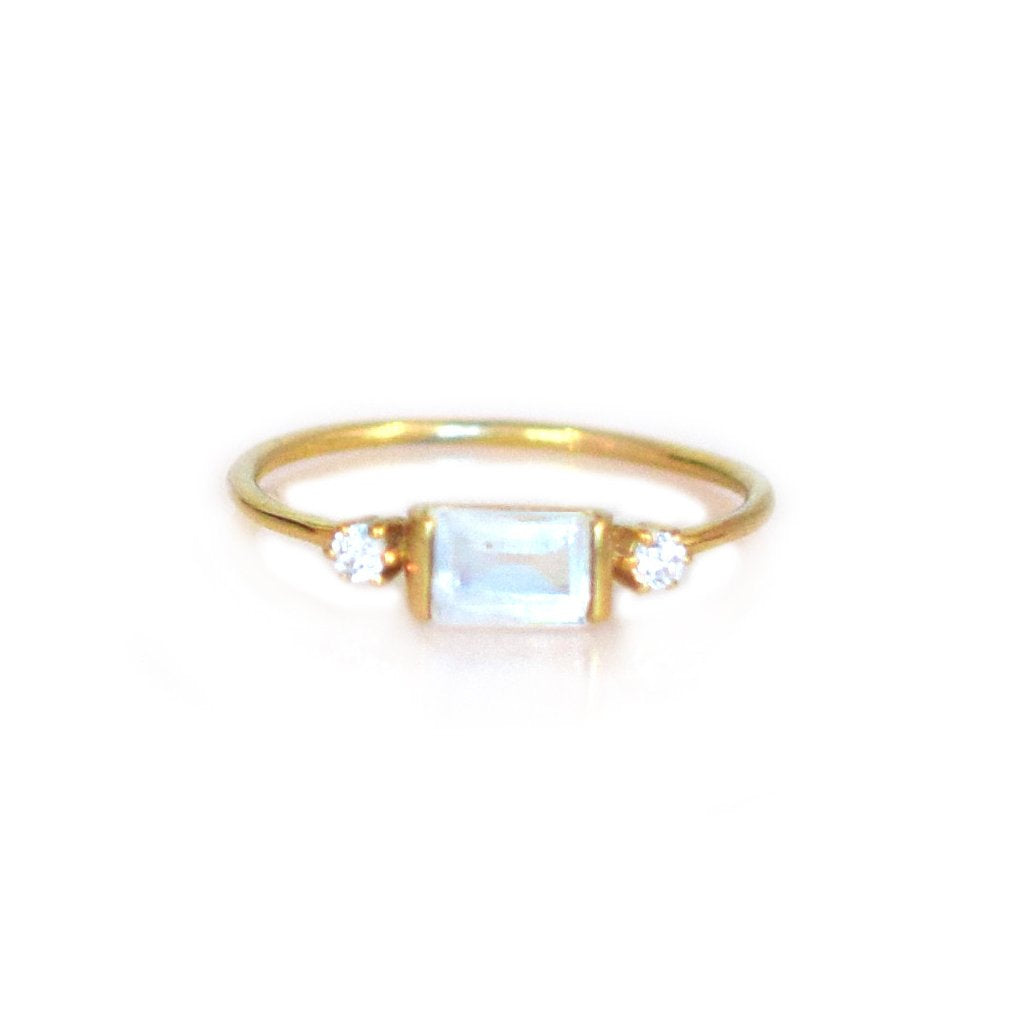 LA KAISER RAINBOW MOONSTONE DIAMOND SKY RING
