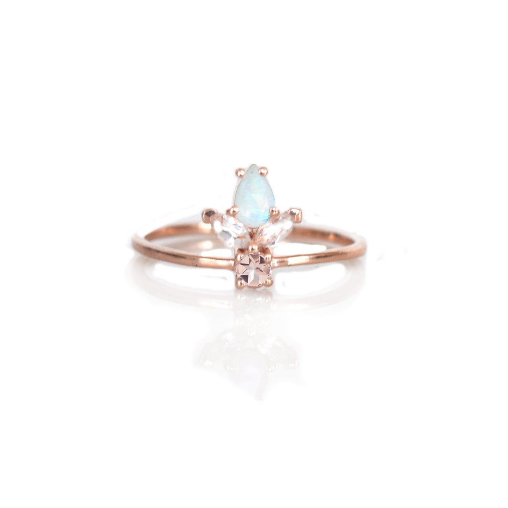 LA KAISER ROSE GOLD MORGANITE, TOPAZ & RAINBOW MOONSTONE LA VIVA RING