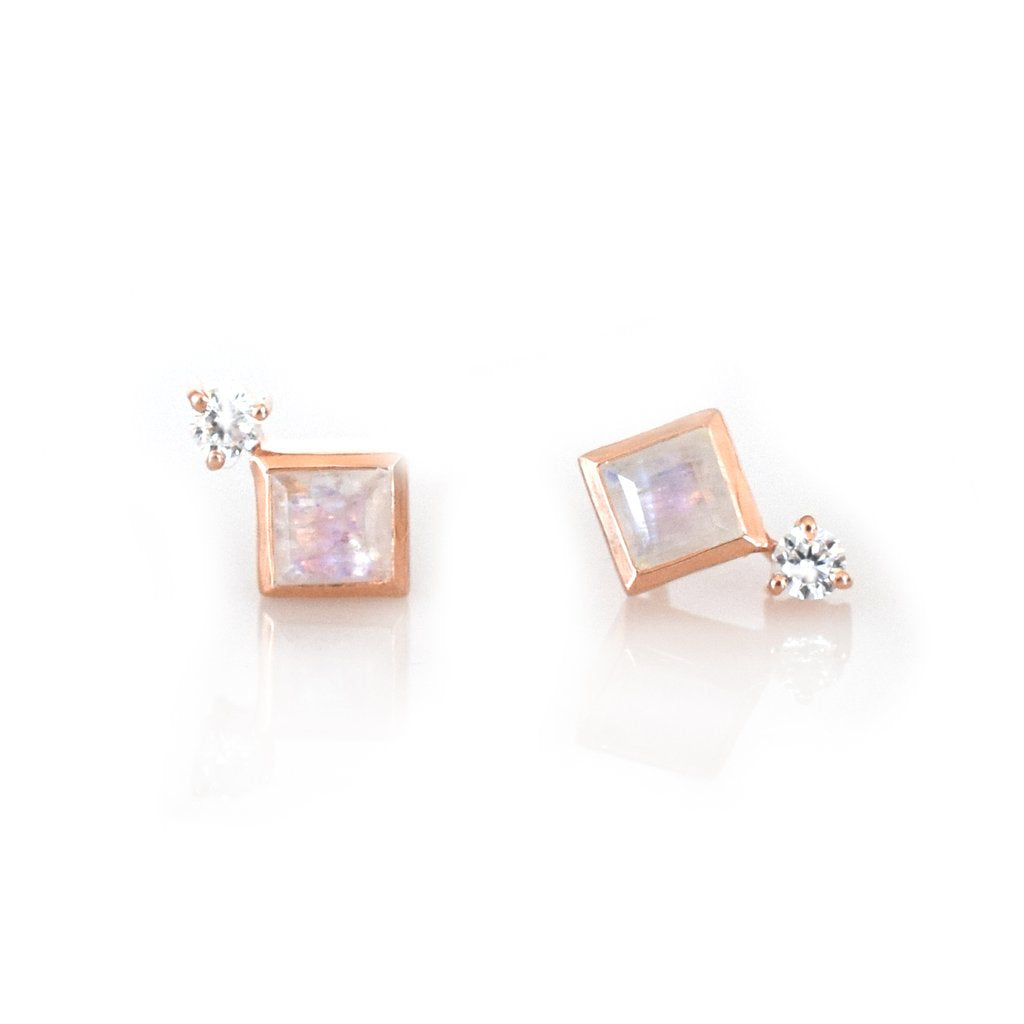 LA KAISER ROSE GOLD RAINBOW MOONSTONE BELLE STUDS