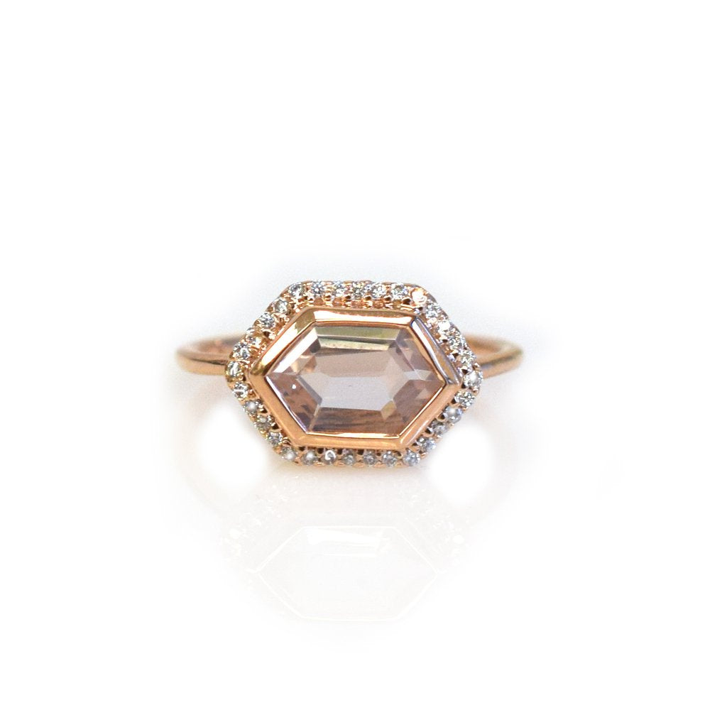 LA KAISER ROSE GOLD ROSE QUARTZ & DIAMOND ROYAL RING
