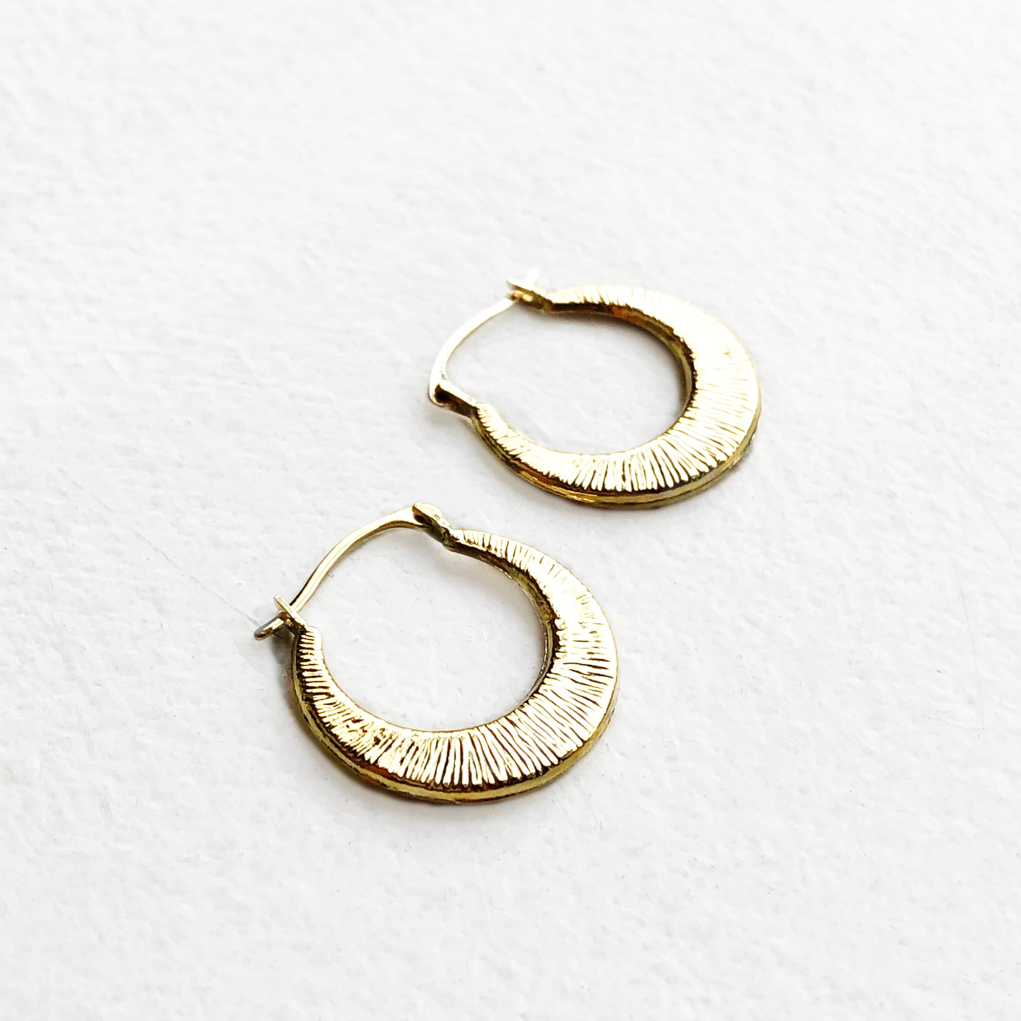 Textured Crescent Hoop Earrings in Gold