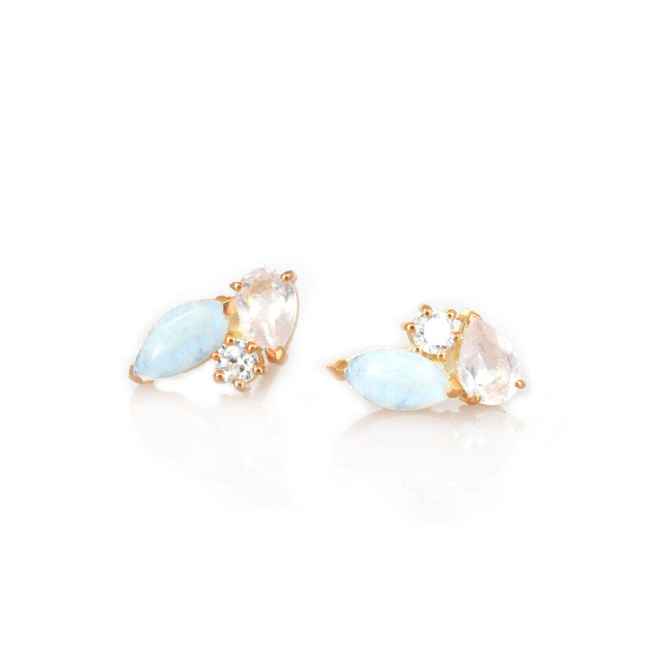 LA KAISER RAINBOW MOONSTONE DIAMOND ROSE QUARTZ SWEETPEA STUDS