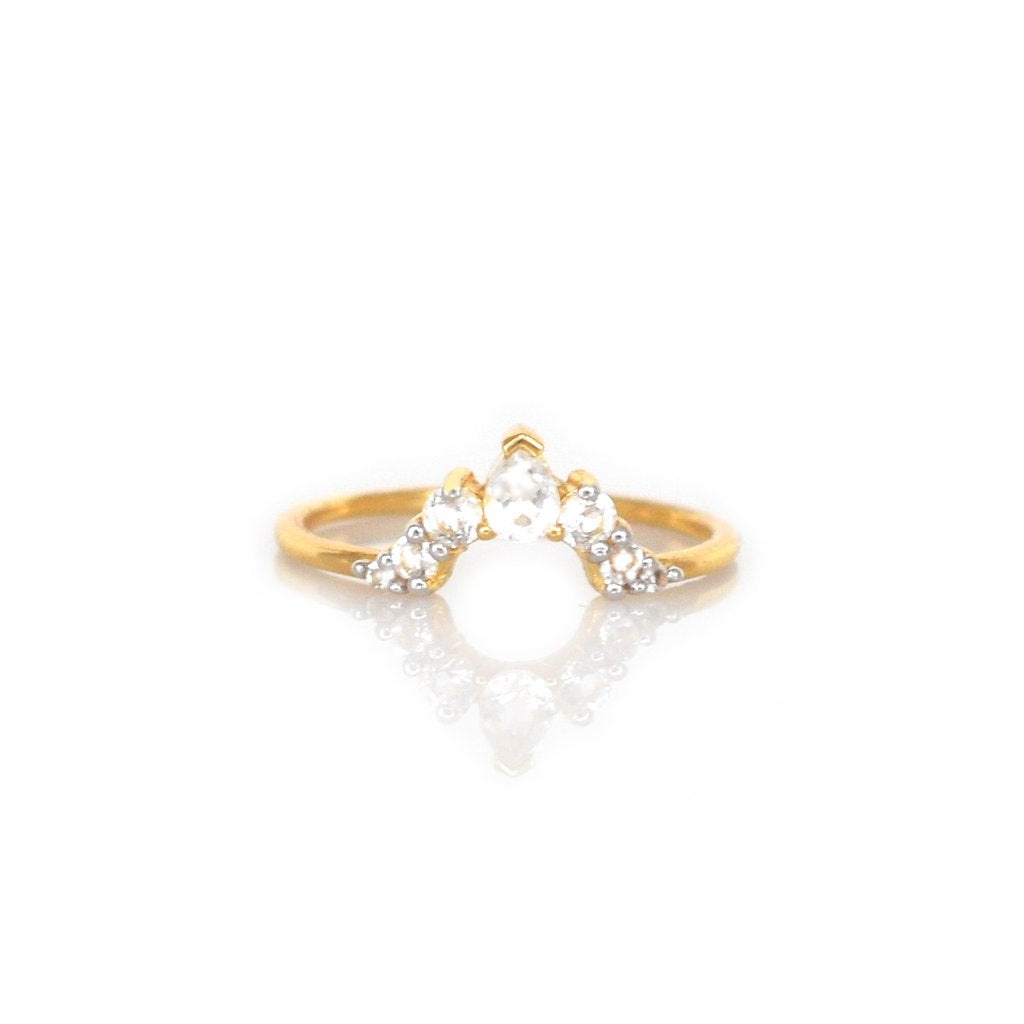 LA KAISER WHITE TOPAZ ANGELS ARC RING