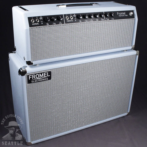 "Fromel Harmonic Vibe 50 Watt Head with 2x10"" Cabinet in Surf Blue"