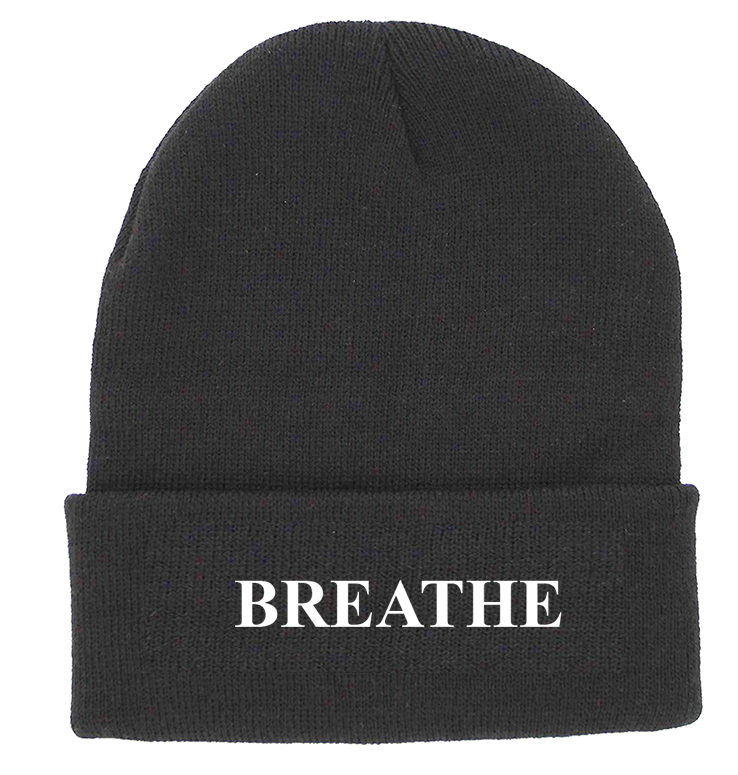 BREATHE Charcoal Cuffed Knit Beanie | Be Inspired
