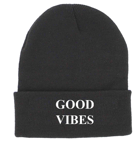 GOOD VIBES Charcoal Cuffed Knit Beanie | Be Inspired