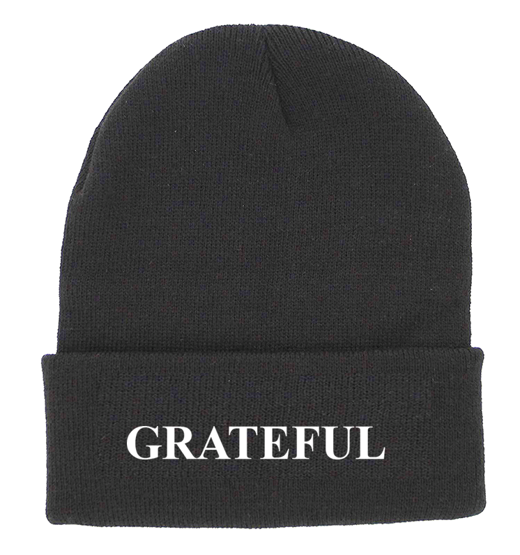 GRATEFUL Charcoal Cuffed Knit Beanie | Be Inspired