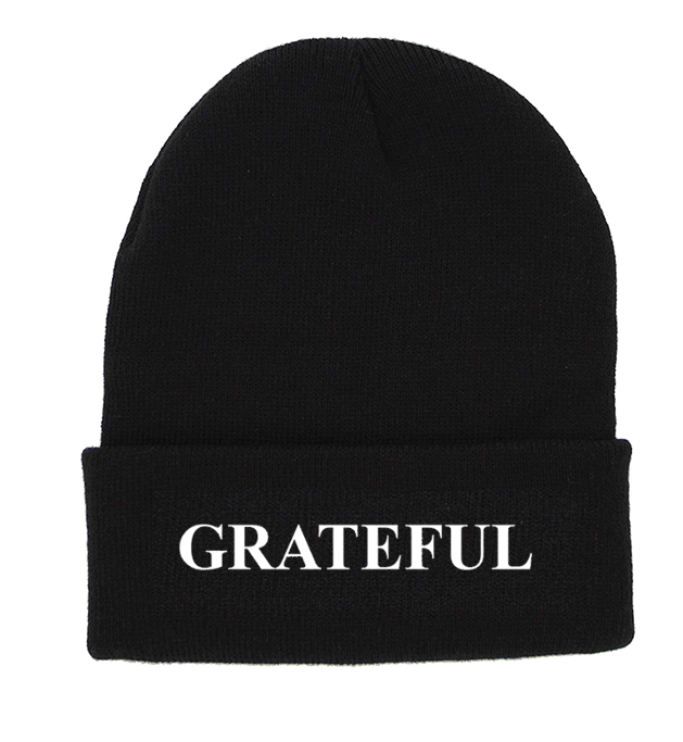GRATEFUL Black Cuffed Knit Beanie | Be Inspired