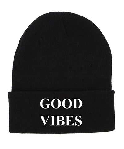 GOOD VIBES Black Cuffed Knit Beanie | Be Inspired