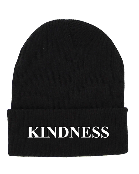 KINDNESS Black Cuffed Knit Beanie | Be Inspired