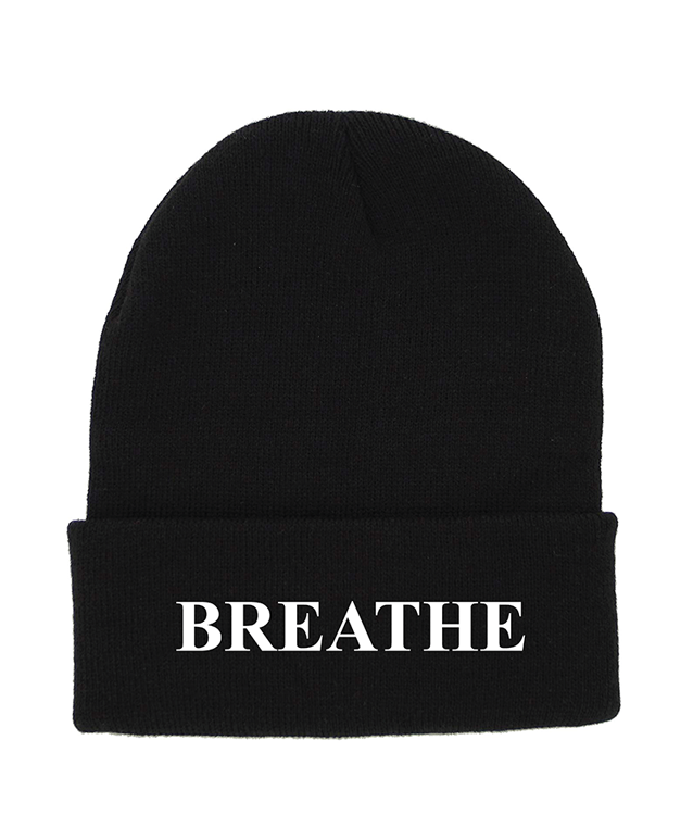 BREATHE Black Cuffed Knit Beanie | Be Inspired