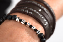 onyx and sterling recovery word bracelet | recovery wrap bracelet