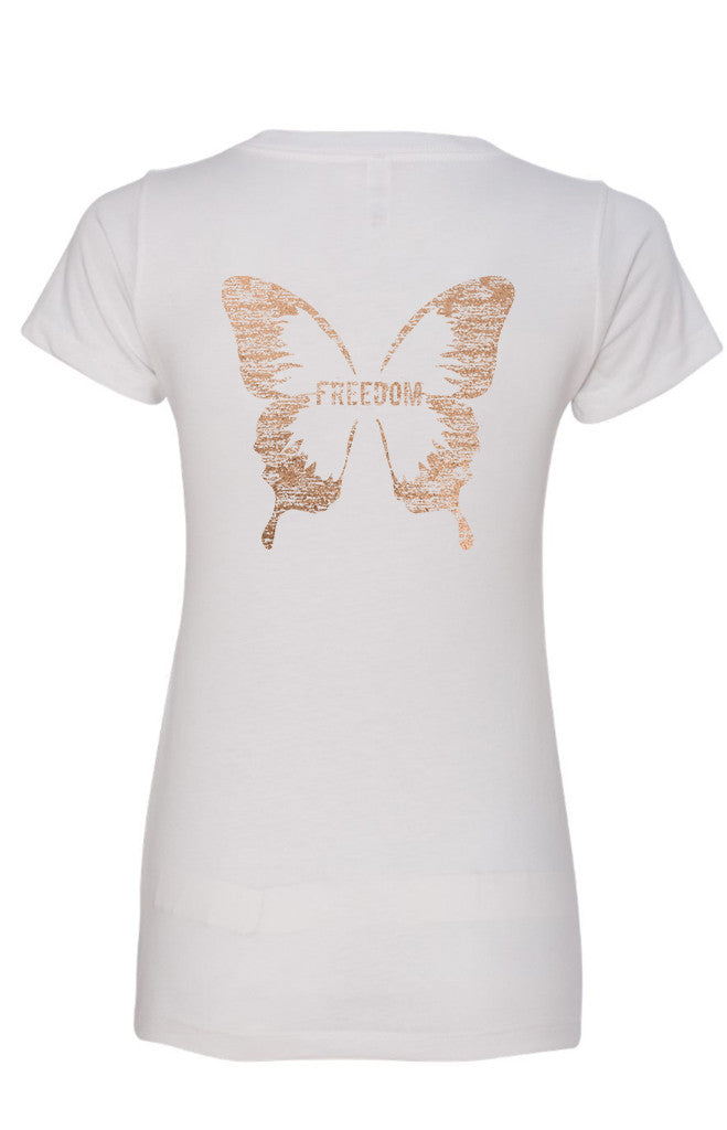FREEDOM BUTTERFLY Women's Ideal V-Neck Tee  | Inspirational Fashion
