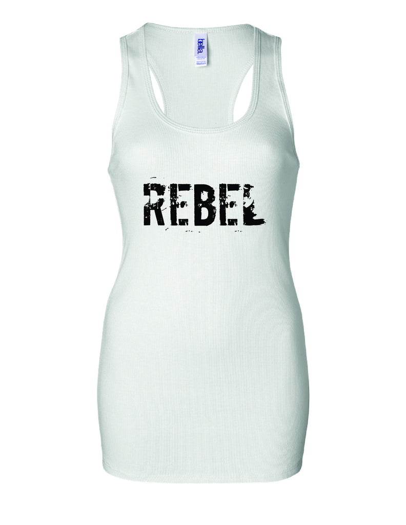 REBEL Women's Bold Ribbed Tank T-Shirt / White with black print
